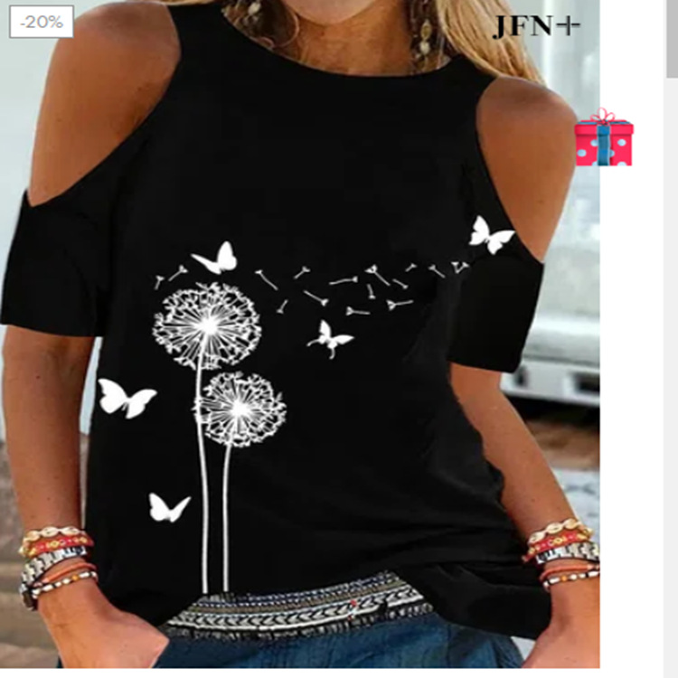 Spandex Cold Shoulder Shirt with Butterfly and Dandelion Print for Pretty Women