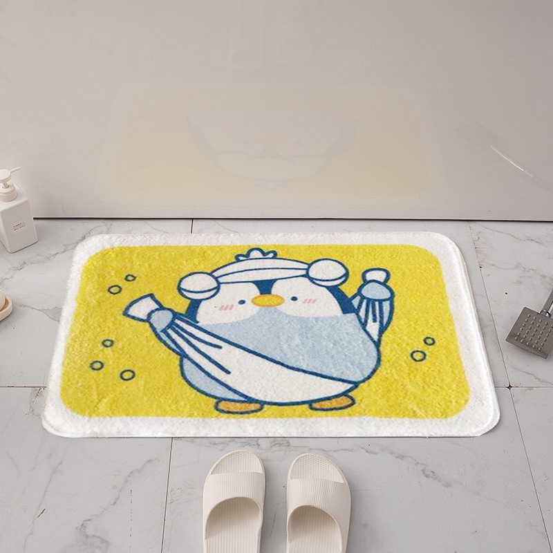 Non-Slip Penguin Bathroom Floor Mat for Drying Up Before Stepping Out The Bathroom