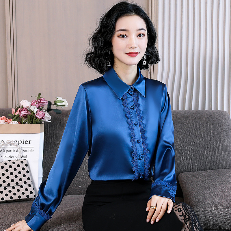 High-Quality Silk Button Lace Pattern Long Sleeve Top for Workaholic Women