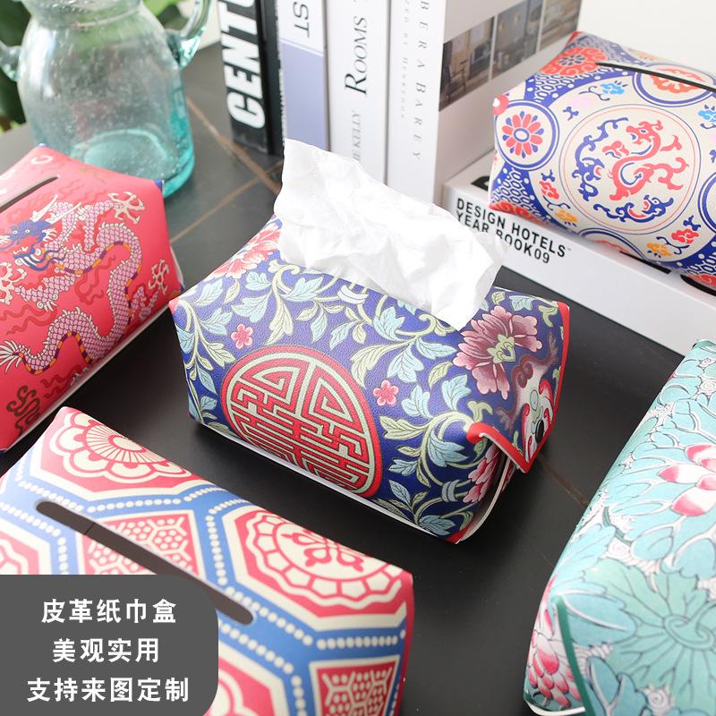 Unique Design Synthetic Leather Tissue Box Cover for Decorative Tables