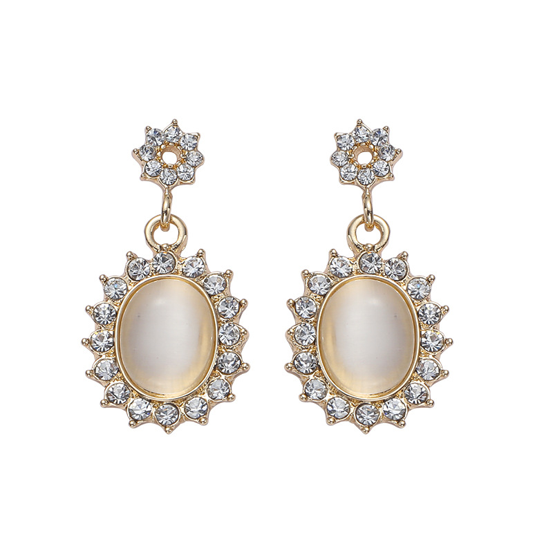 Radiant Crystal Glass Inlaid Silver Earrings for Luxurious Looks