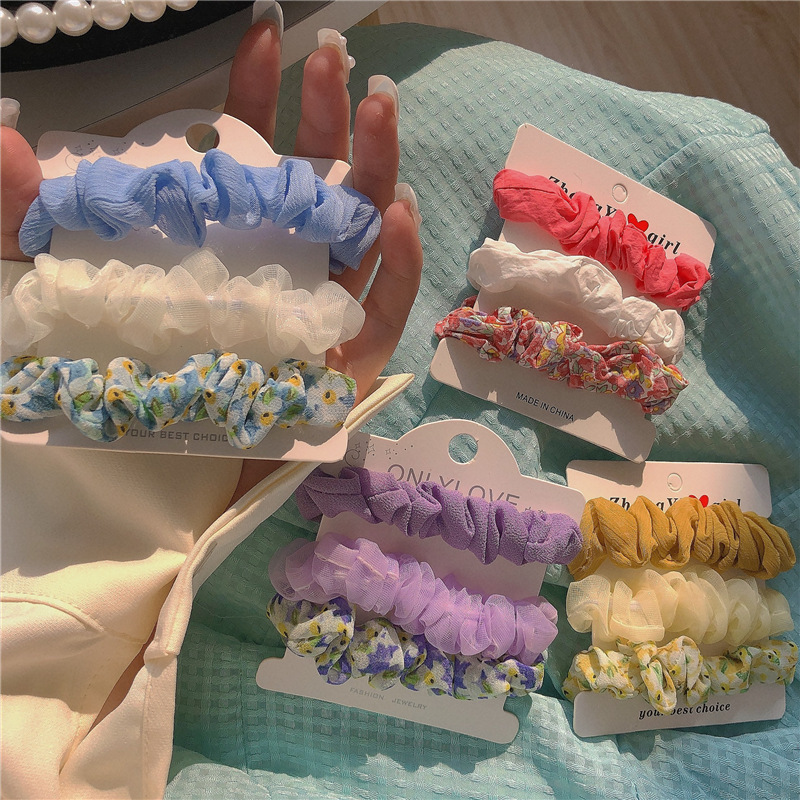 Dainty Pastel Colored Three-Piece Scrunchie for Any Occasion
