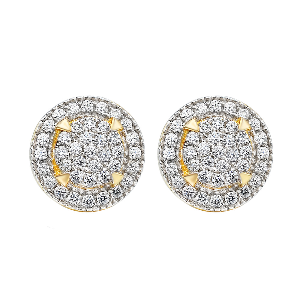 Fancy-Looking Faux Diamond Plated Gold Earrings for Casual Dates
