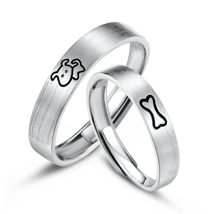 Adjustable Sterling Silver Ring with Carved Puppy and Bone Design for Couple Rings