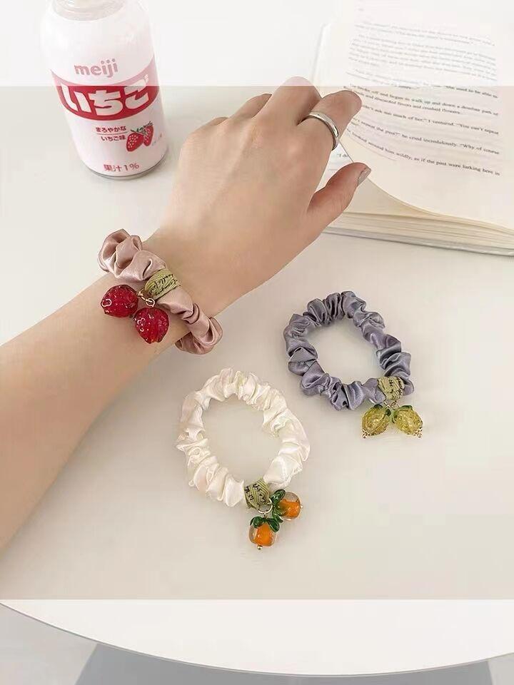 Cute Fruit Pendant Small Scrunchies for Stylish Hair Bun