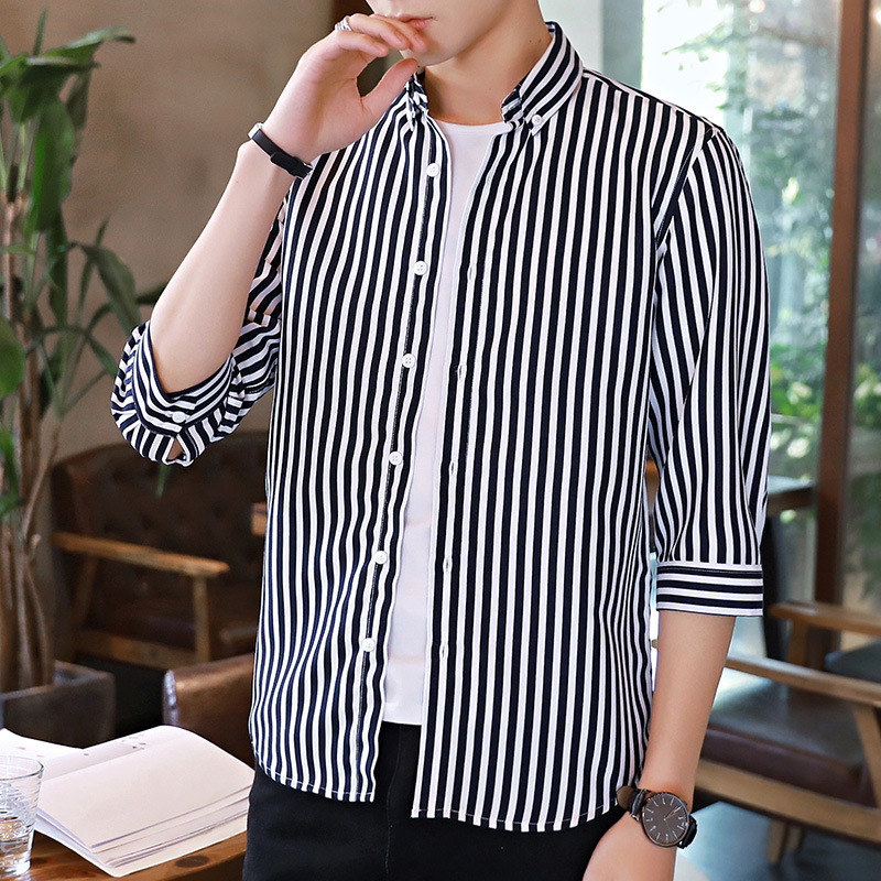 Formal Vertical Stripes Seven-Quarter Sleeve Shirt for Lunch Dates