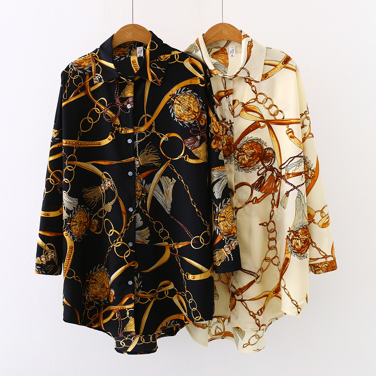 Breathable Loose Collared Chiffon Button-Up Long Sleeves with Gold Vintage Details for Classy Looks