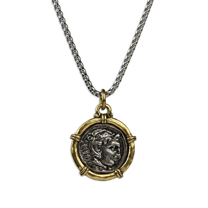 Allegorical Engraved Man Pendant Necklace for Vintage Indie Outfits