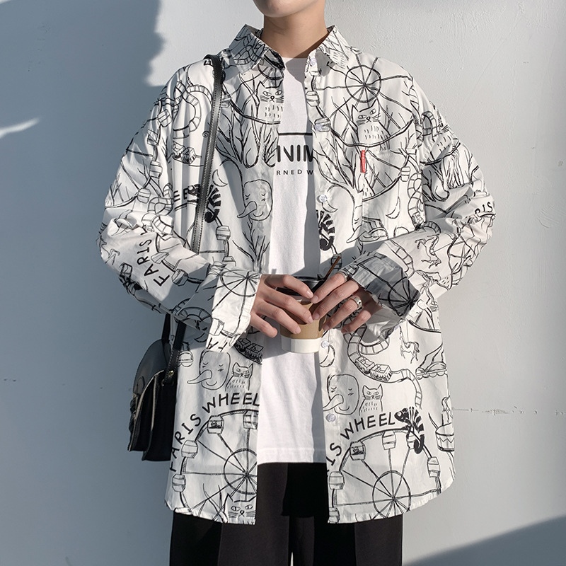 Statement Doodle Print Button Down for Artistic Boys