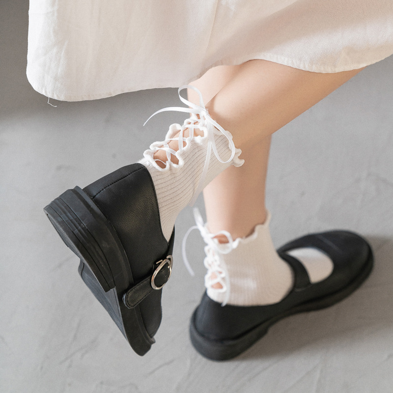 Black and White Socks with Ribbon Detail for Going to School