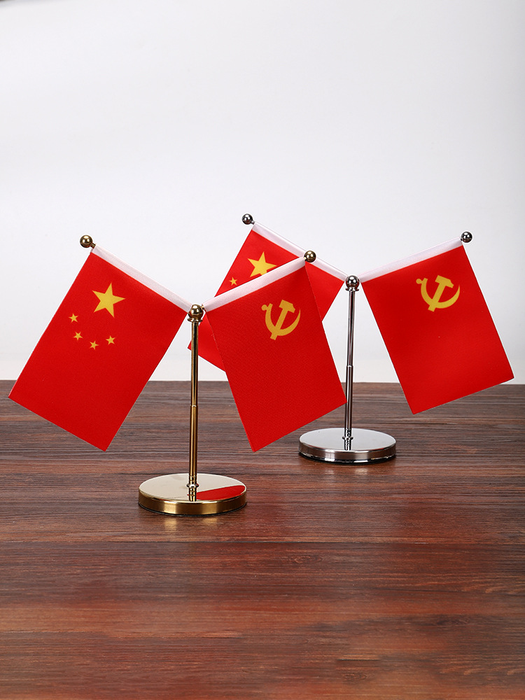 Small Red Flag Ornament for Car's Dashboard Decor