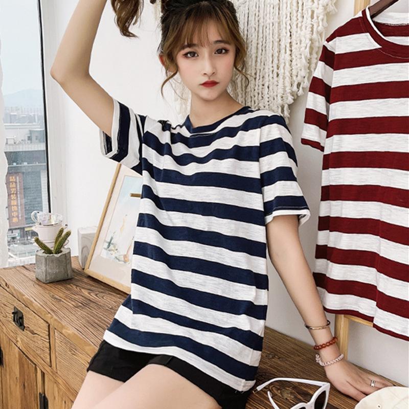 Sublime Loose Short-Sleeved Stripe T-Shirt for Casual Summer Errands
