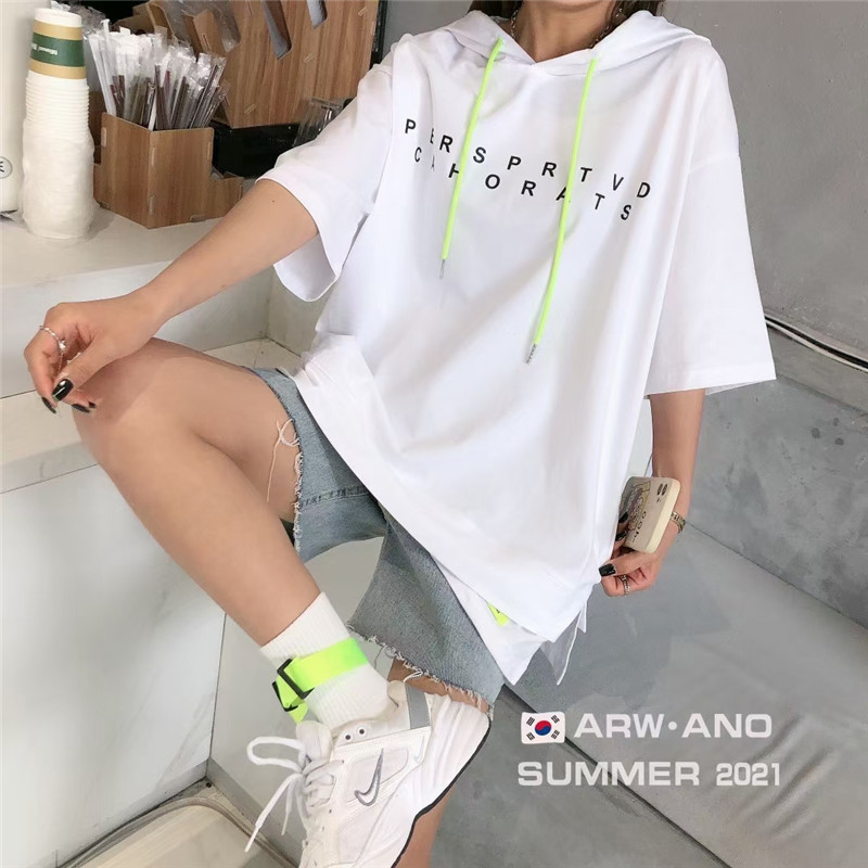 Stylish Letter Printed Short Sleeves Hoodies for Summer Loose-Outfits