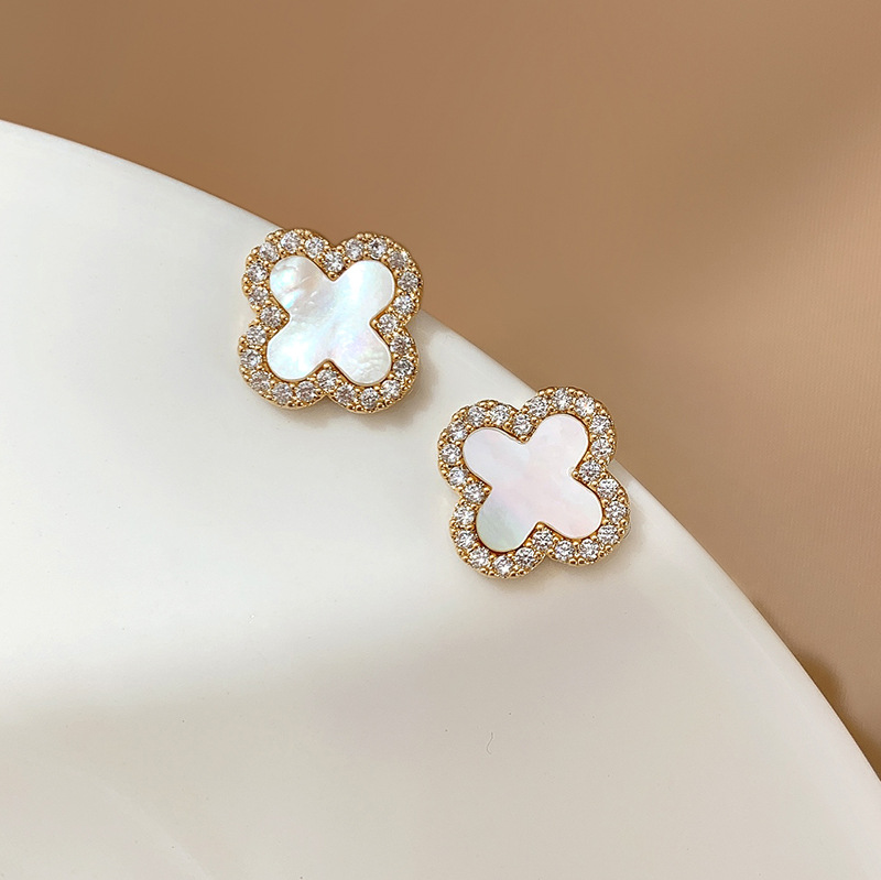 Dainty Four Leaf Clover Stud Earrings for Everyday Wear