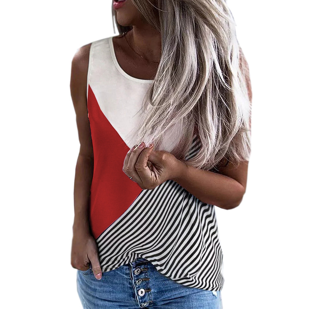 Contrast Stripe Sleeveless Perfect for Summer Fashion