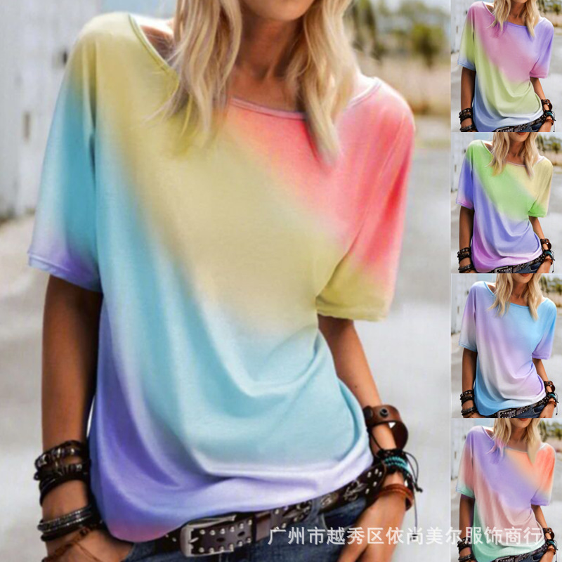 Losse Rainbow Print Round Neck Short Sleeve Top for Beach Outing