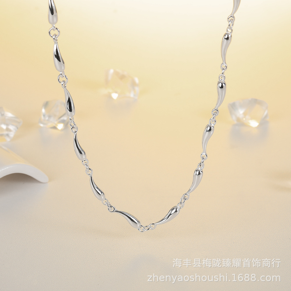 Silver Water Droplet Chain Necklace for Creative Looks