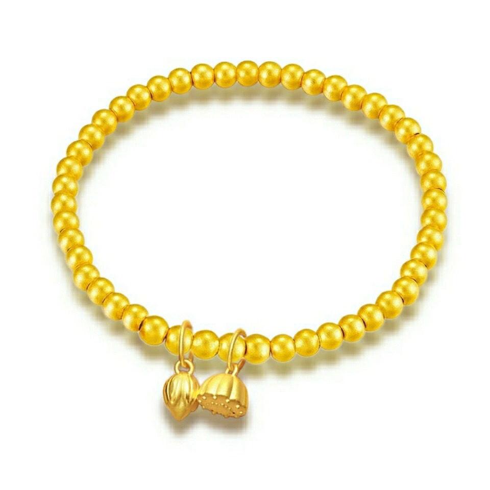 Elegant Faux Golden Lotus Bracelet For Attracting Luck
