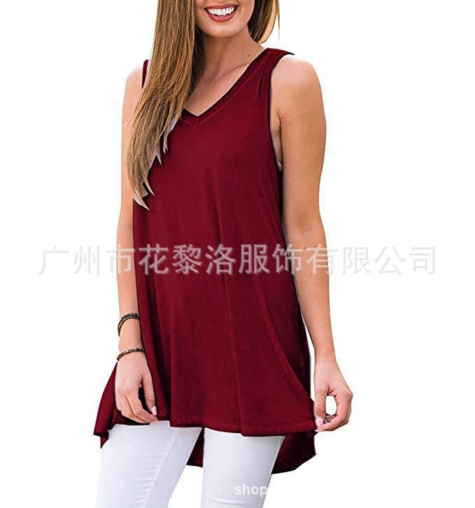 Loose V-Neck Sleeveless Tunic Top for Casual Lazy Days