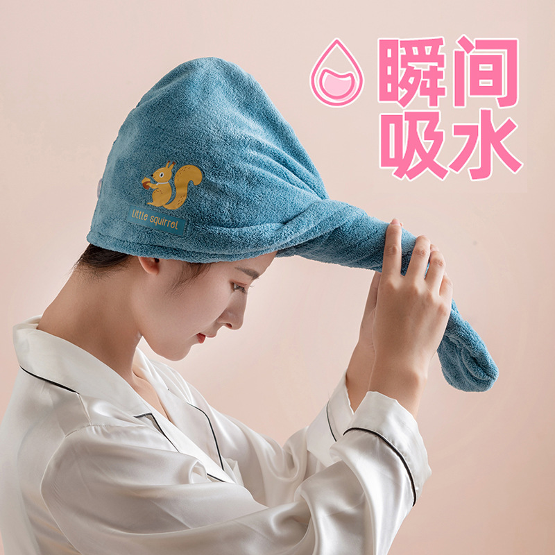 Cute Animal Embroidered Hair Towel for Bath Essentials