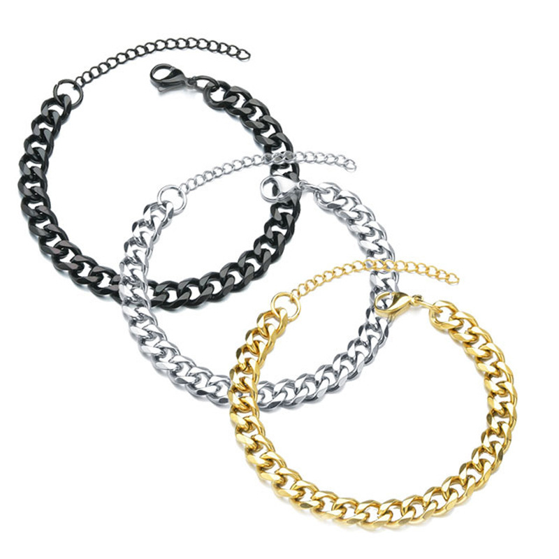 Simple Titanium Steel Curb Chain Bracelet for Casual Outfits