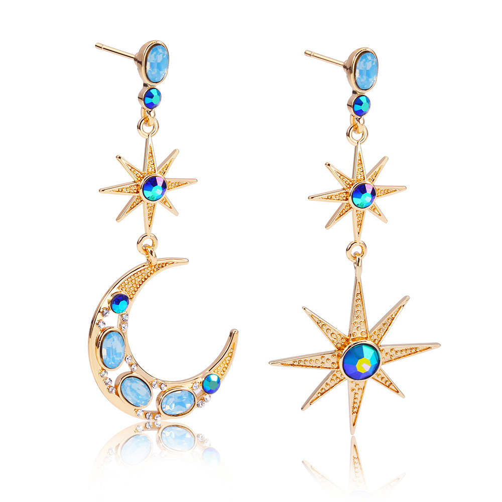 Eye-Catching Blue Rhinestone Gold-Tone Crescent Moon and Star Drop Earrings for Fancy Fashion