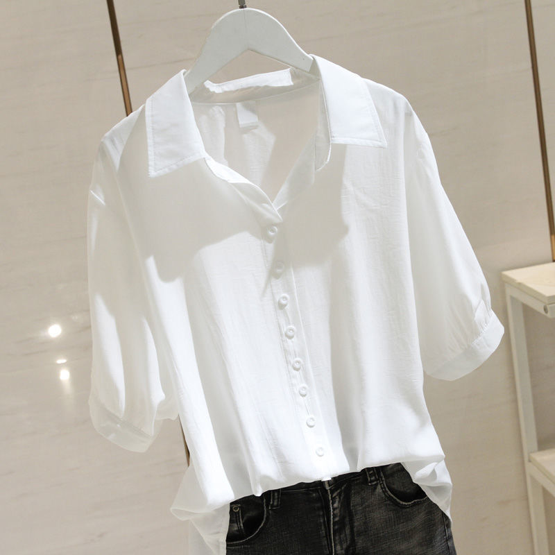 Thin Cotton Fabric Half-Sleeves Button-Up for Basic Get-Up