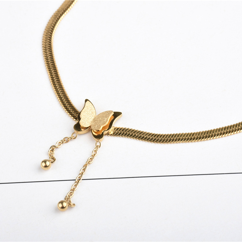 Simplistic Gold Butterfly Snake-Chain Anklet for Women