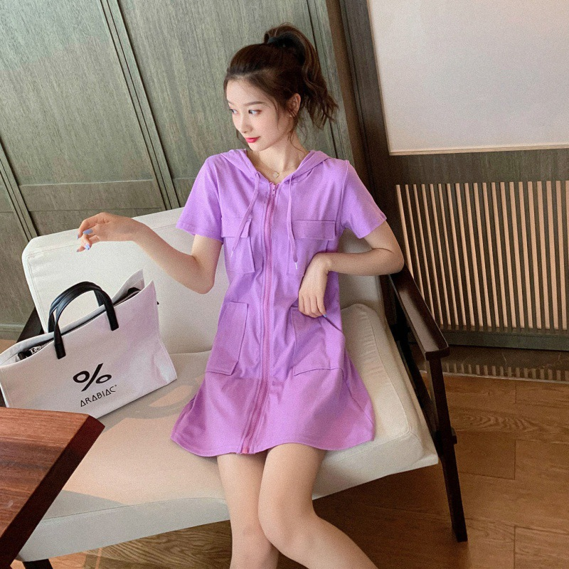 Cozy Zippered Hoodie Dress for Daily Summer Outfit