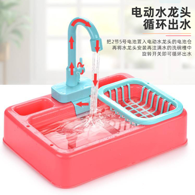 Kitchen Dishwashing Area Toy for Kids' Playhouse