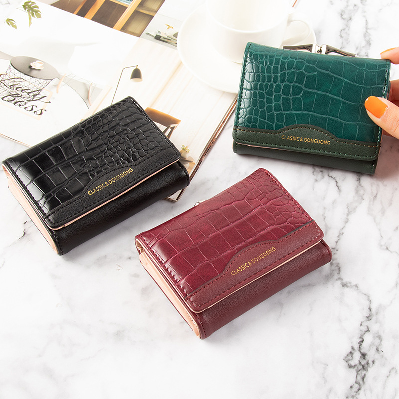 Textured Faux Leather Tri-fold Wallet for Daily Commuting