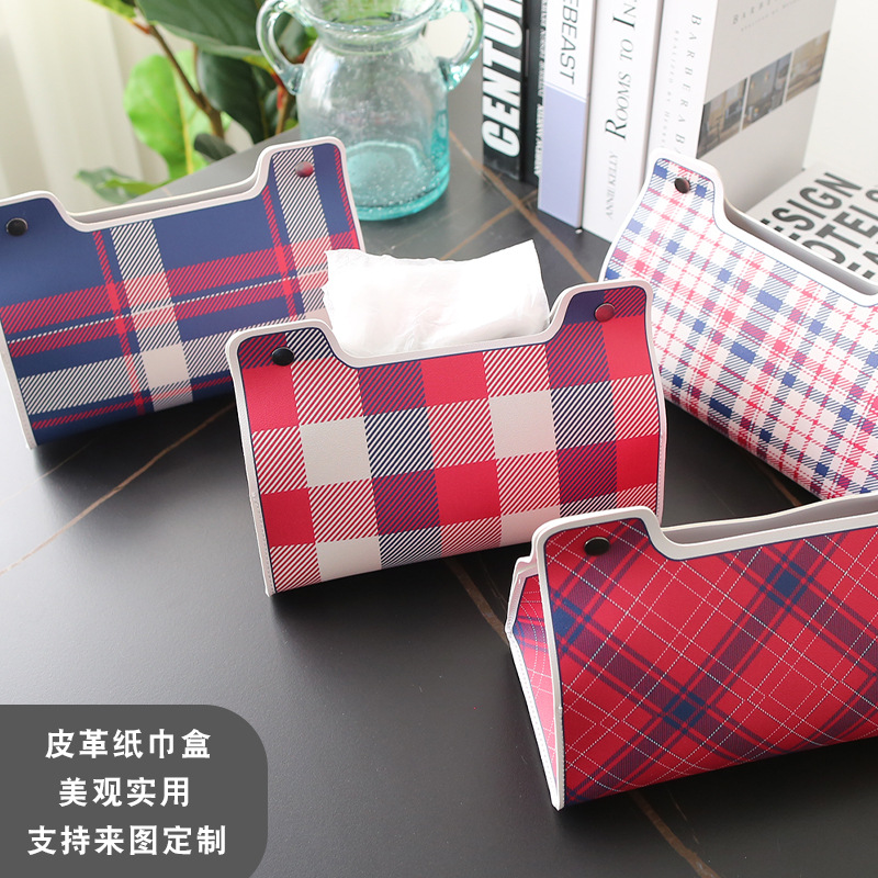 Simple Checkered Synthetic Leather Tissue Holder for Facial Tissues