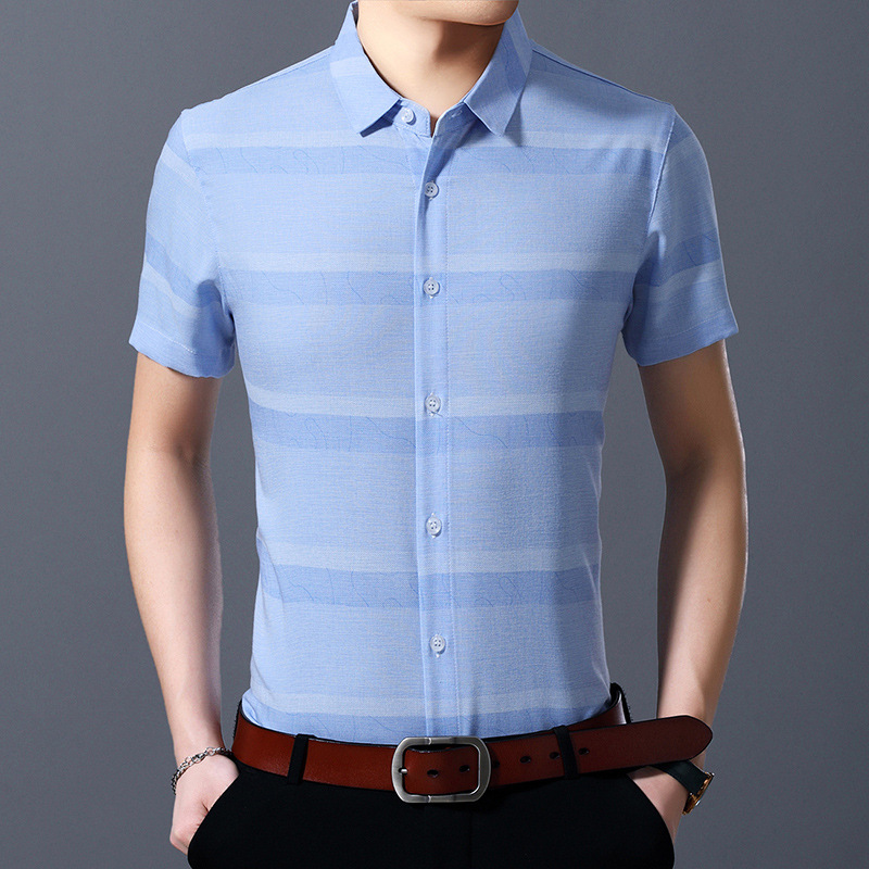 Stylish Pale Stripe Short-Sleeved Shirt for Polished Casual Wear