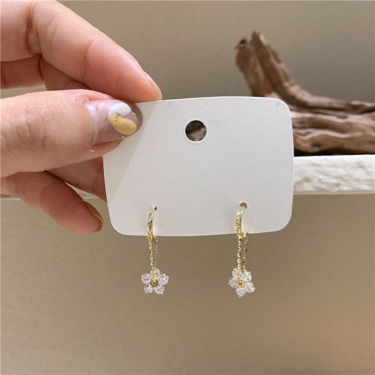 Sterling Silver Needle Small Flower Tassel Earrings for Gifting to your Girlfriend during Anniversary