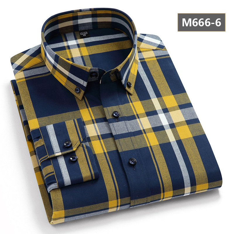 High-quality Long-sleeve Cotton Plaid Button-up for Special Events