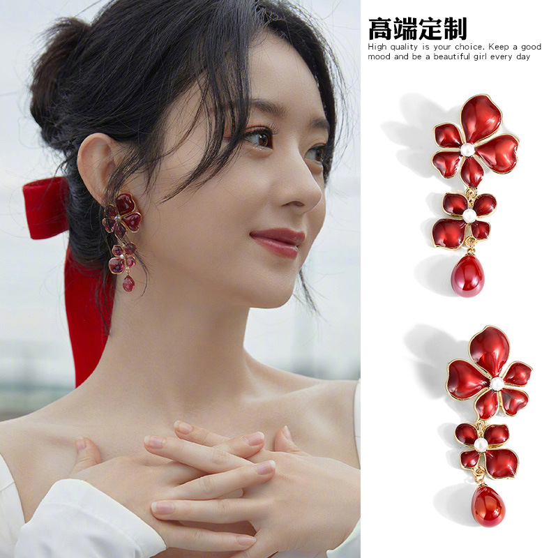 Dainty Alloy and Silver Needle Floral Earrings for Chic Looks