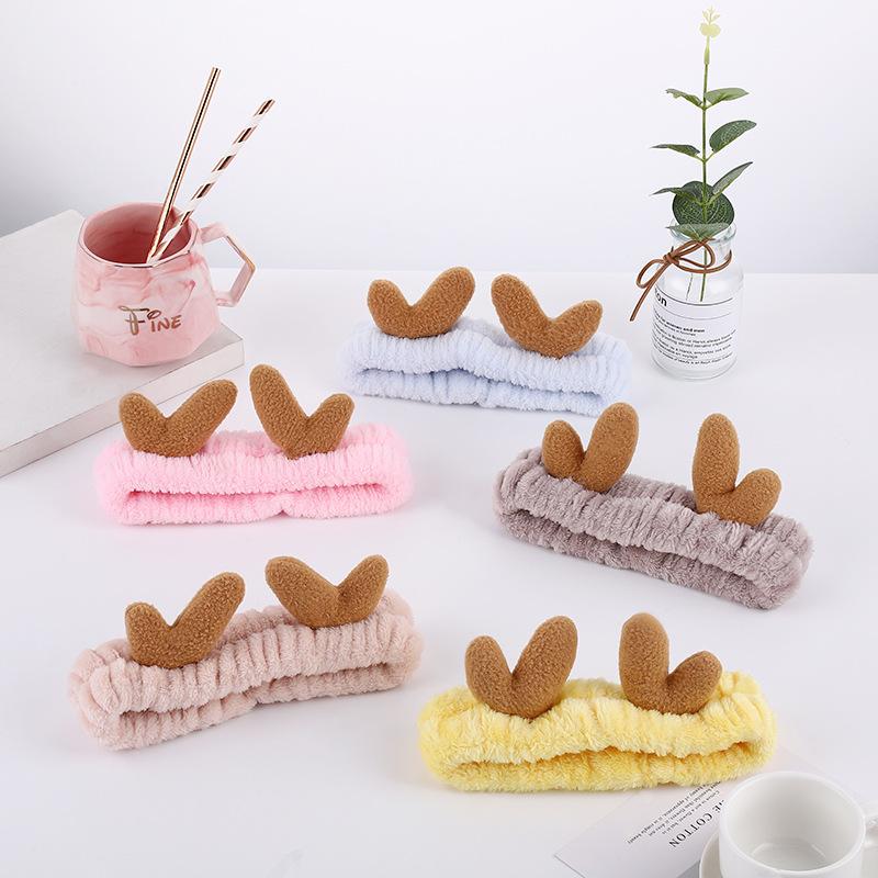 Cute Cartoon Horn Plush Headband for Skin Care Routine Essentials
