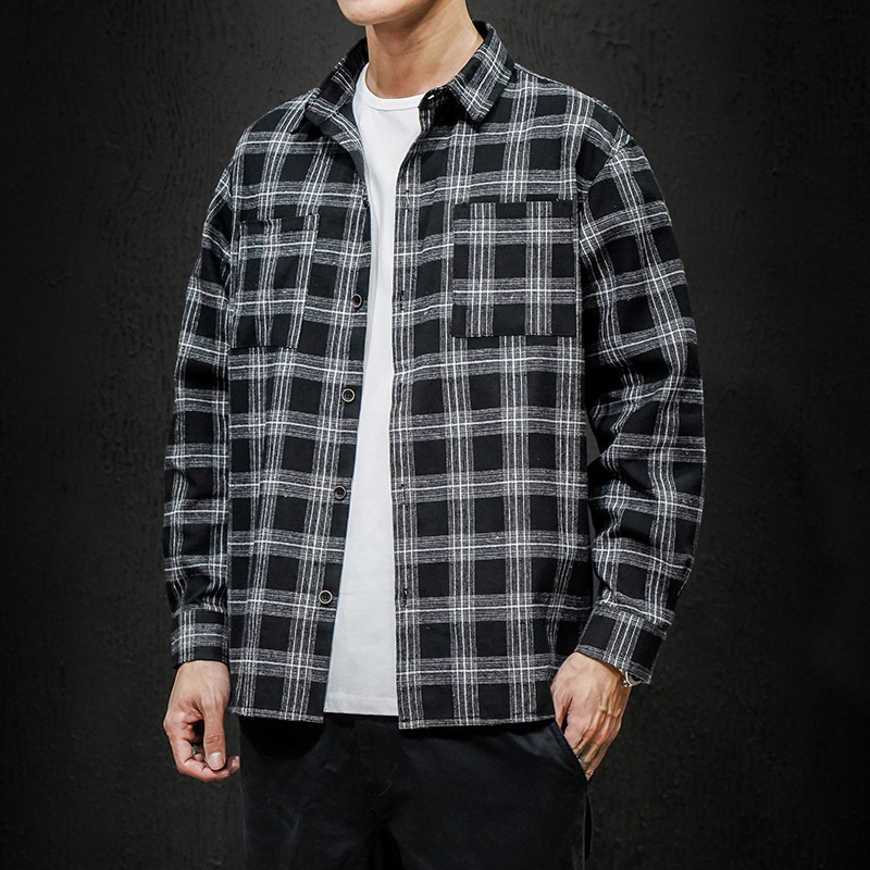 Simple Loose Plaid Shirt Jacket for Casual Wear