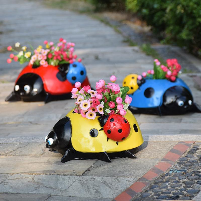 Bright-Colored Ladybug Pot Decor for Creative Outdoor Gardens