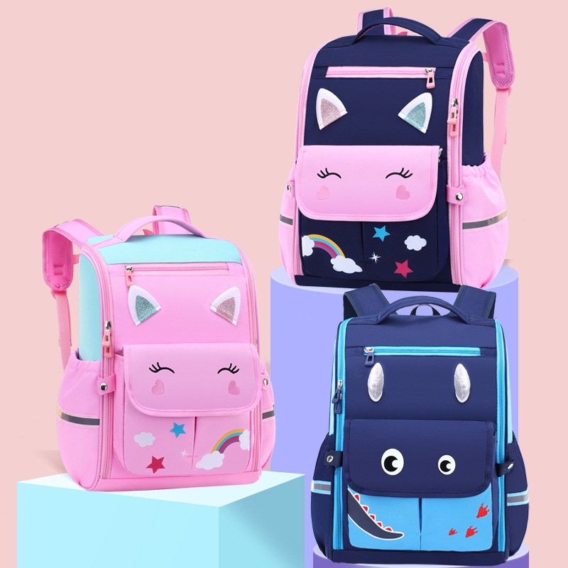 Adorable Cat and Dragon Backpack for Elementary Students