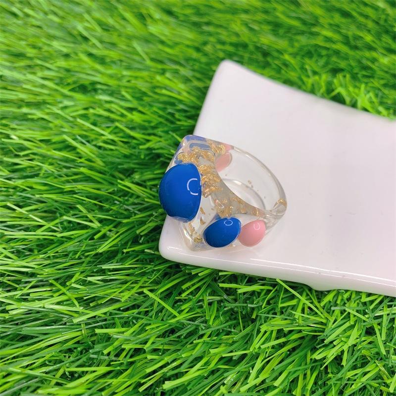 Unique Semi-Transparent Resin Ring for Ladies