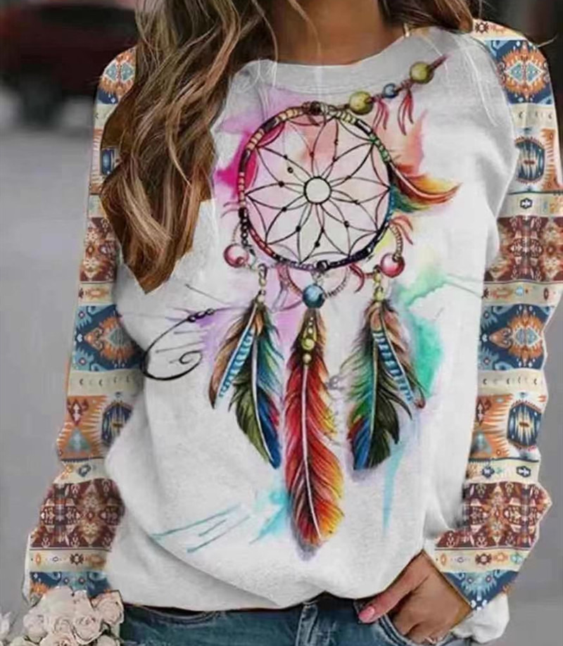 Stylish Round-Neck Multicolored Printed Sweater for Bohemian Outfits