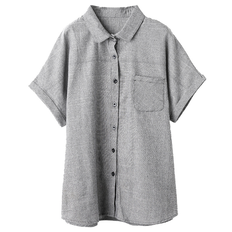 Fresh Short Sleeved Button Up Gray Shirt for Everyday Office Dress Ups