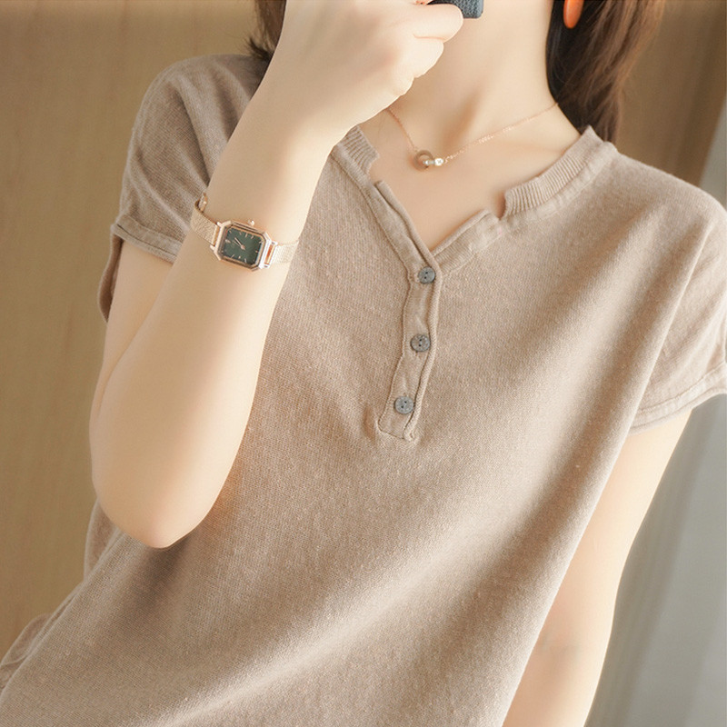Loose Chic Plain Short-Sleeved T-Shirt for Casual Wear