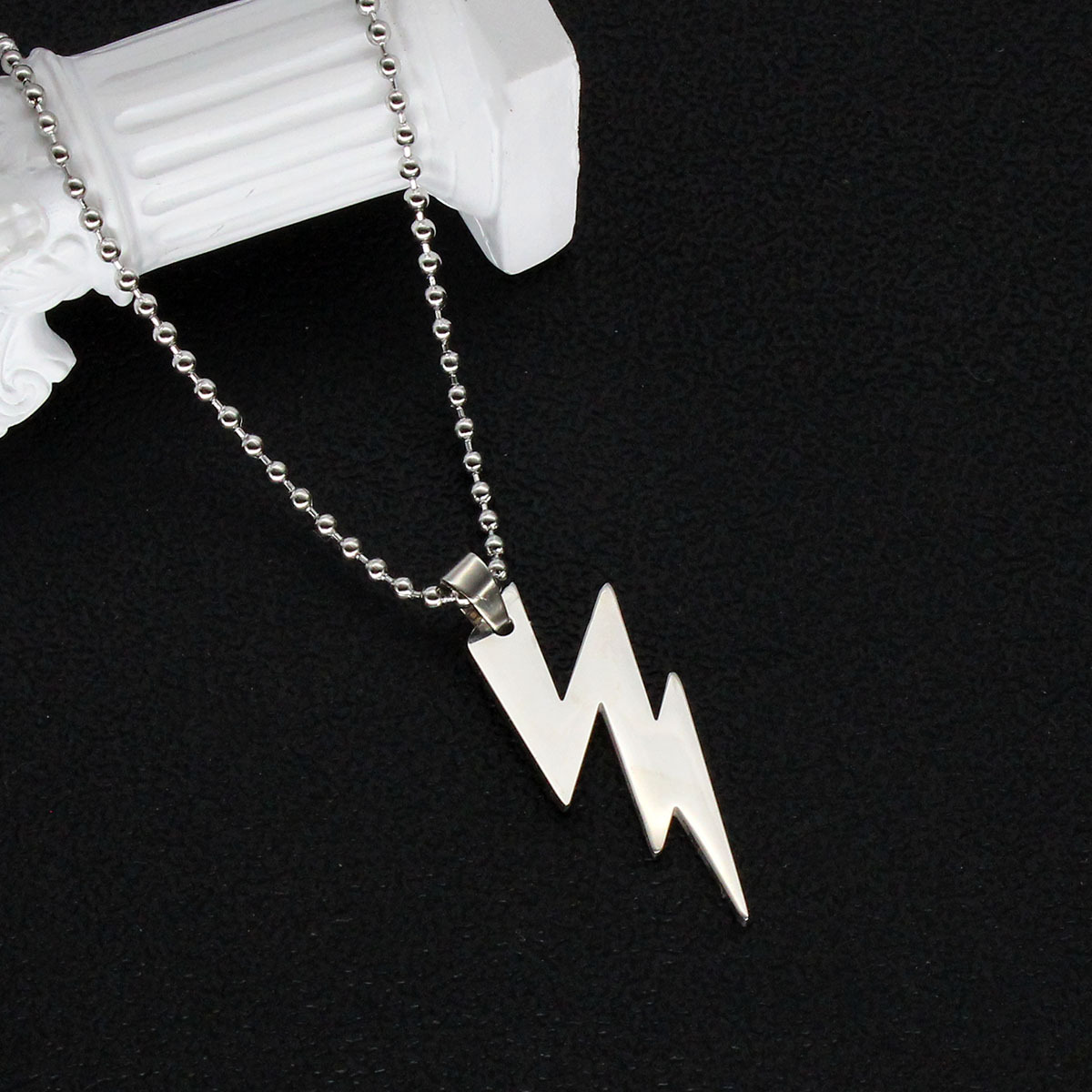 Unisex Stainless Steel Lightning Pendant Necklace for Cool Fashion Outfits