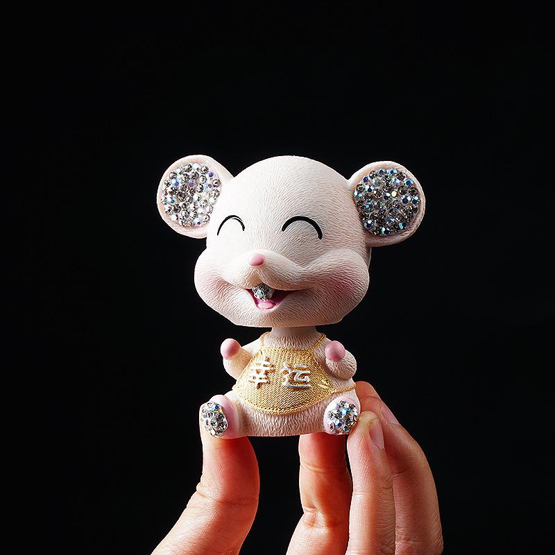 Sparkling Diamond Ear Cartoon Mouse Ornament for Car Decorations