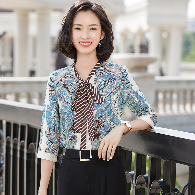 Ornate Floral Polyester Spandex Blouse with Striped Tie for Women