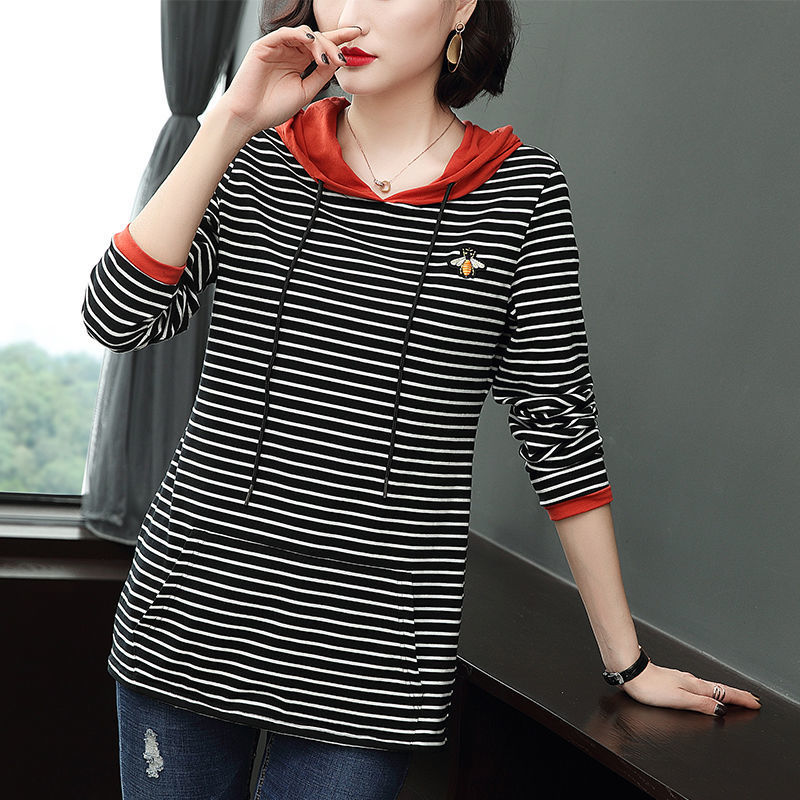 New and Simple! Long Sleeve Striped Hooded T-Shirt with Bee Design for Ladies