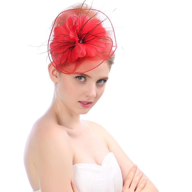 Bridal Hat with Yarn Feather