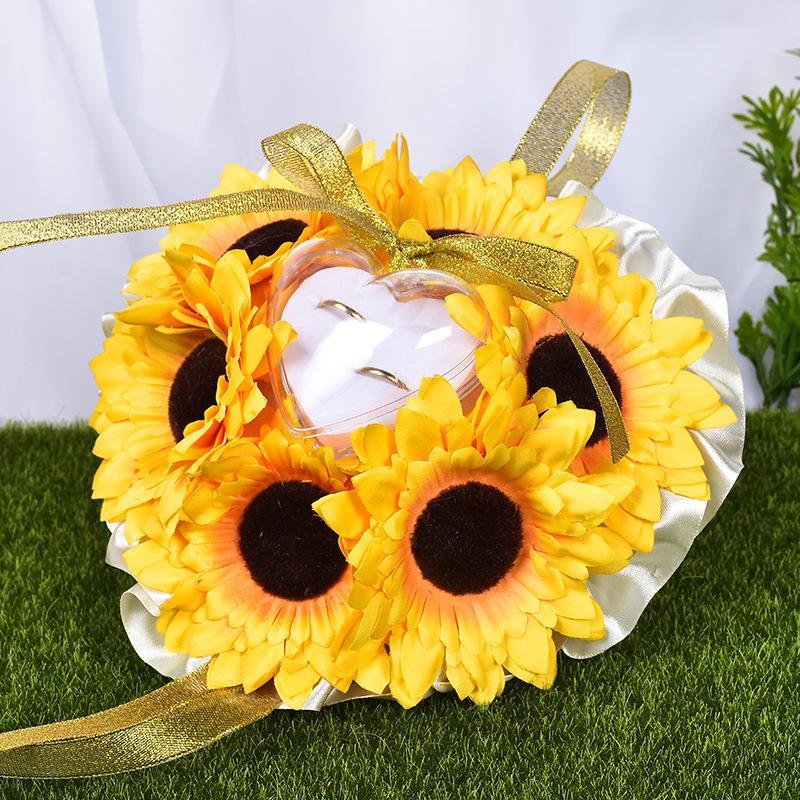 Sunflower Bridal Ring Pillow